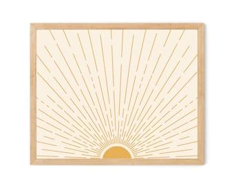 Sun Rays Digital Download, Summer Wall Art, Sunrise, Sunset, Retro Inspired Sunshine Sunny Days 60s Mid Century Modern, Yellow Gold Mustard