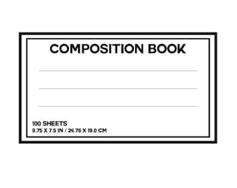 Composition Book Notebook Label SVG