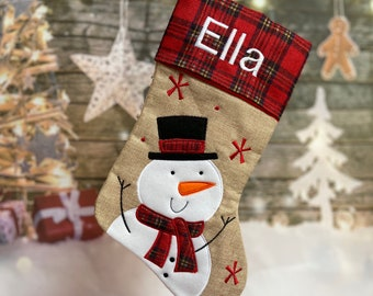 Personalized Snowman Stocking - Embroidered Christmas Stocking - Personalized Christmas Stocking - Hessian Stocking - Burlap Stocking
