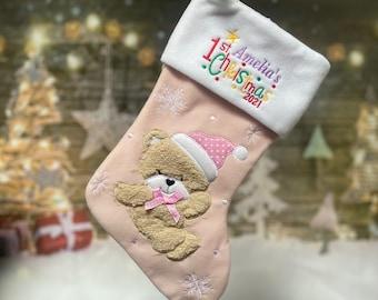 First Christmas Stocking 2021 - Baby Stocking - Personalized Christmas Stocking - 1st Stocking 2021 - Baby Christmas Stocking