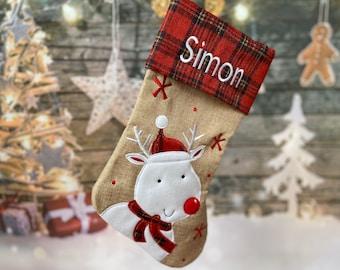Santa Stocking - Personalized Reindeer Stocking - Christmas Stocking - Personalized Christmas Stocking - Hessian Stocking - Burlap Stocking