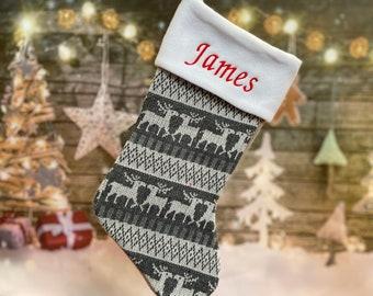 Personalized Stocking - Nordic Stocking - Personalized Christmas Stocking - Fairisle Stocking - Knitted Stocking - Custom Stocking