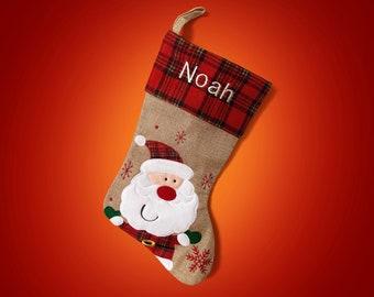 Personalized Santa Stocking - Santa Stocking - Personalized Christmas Stocking - Hessian Stocking - Burlap Stocking
