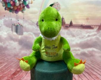 Personalized Stuffed Animal - Dinosaur Plush - New Baby Gift - Baby Keepsake - Birth Announcement - Dino Plush - Birth Stat Animal