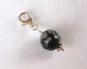 8mm blue sandstone gemstone sterling silver clip on charm for link bracelet