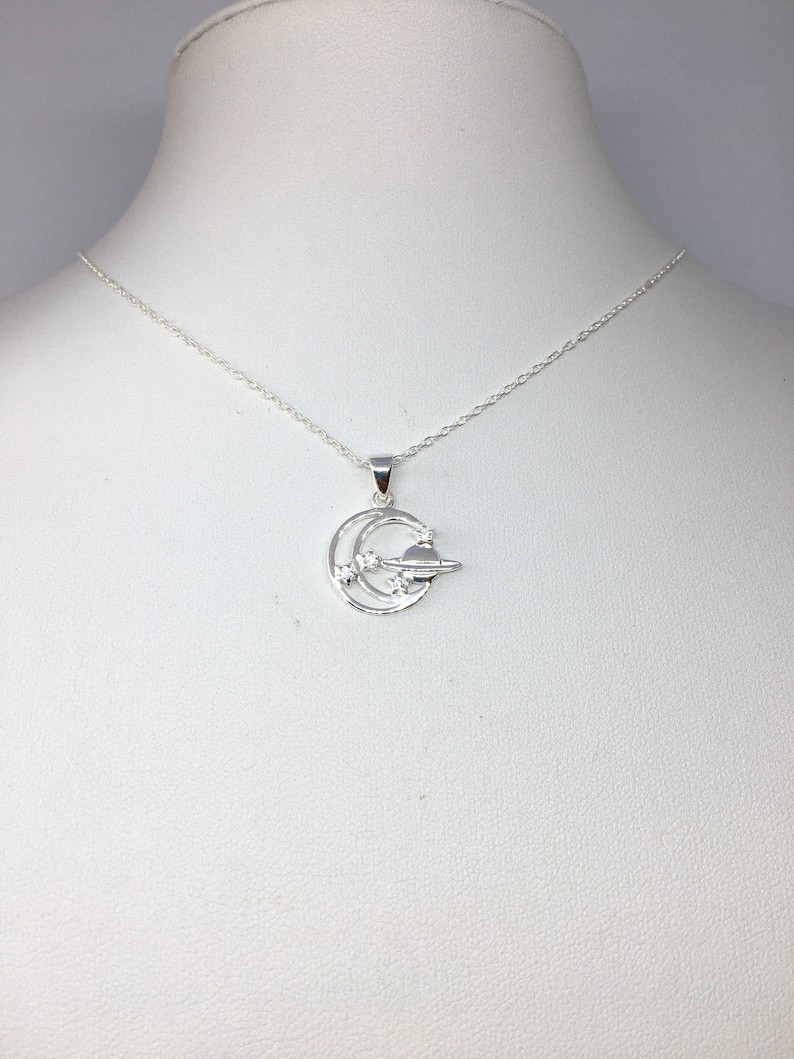 minimalistic sky cosmos jewelry Planet star crescent moon celestial sterling silver charm delicate necklace