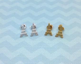 Paris Eiffel tower sterling silver stud earrings