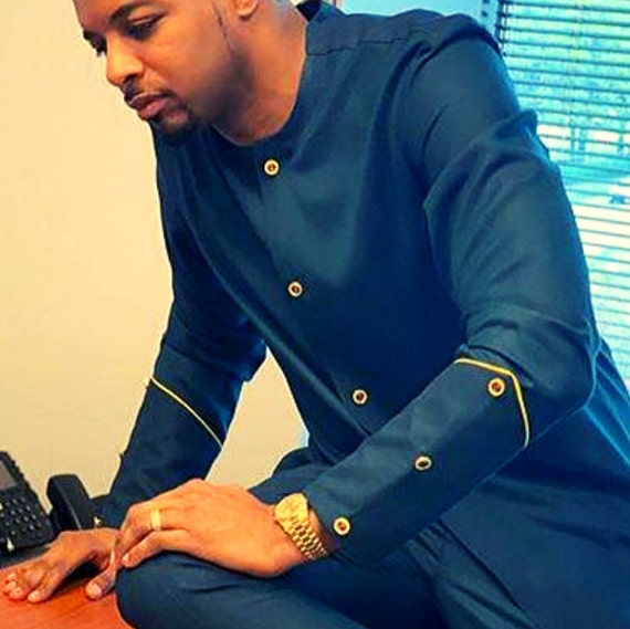 Teal African Suit For Men Dashiki Clothing For Men Wedding Etsy