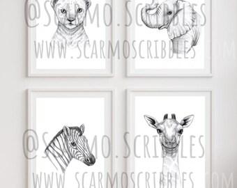 Set of 4 Safari Animals **DIGITAL DOWNLOAD**