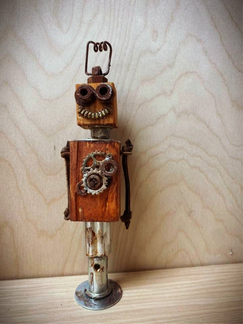 Robot Decor Wood Robot Happy Robot