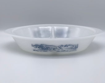 Vintage  Glasbake Currier and Ives milk glass 1960\u2019s vintage casserole dish winter scene bakeware glass snack dish oval dish