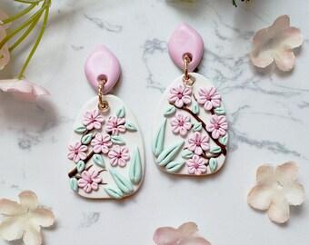 Pink glazed sequin earrings flowers