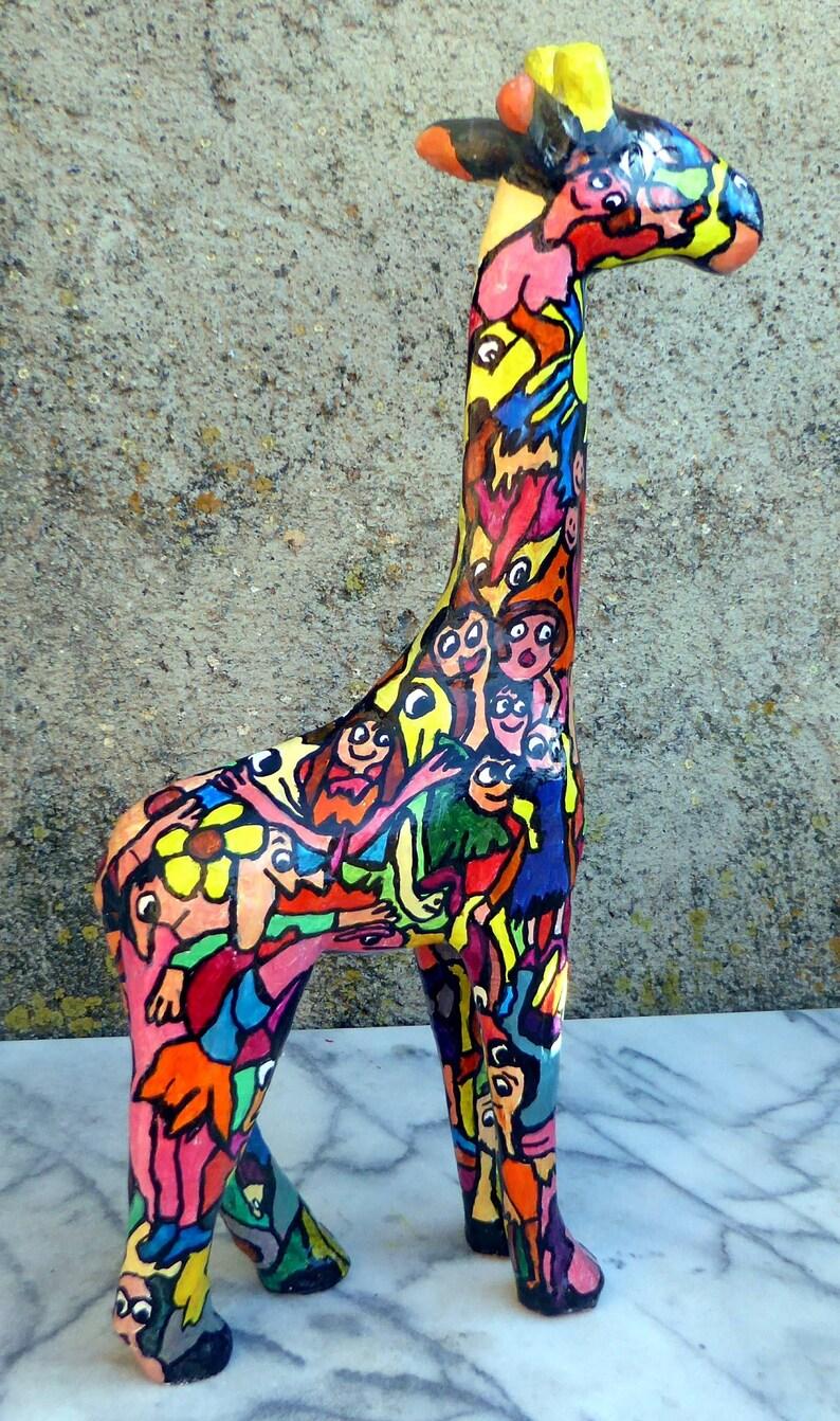 Very colorful cheerful giraffe image 0