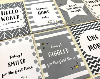 Babys 1st Year Mile Stone Journey Picture Card Props Newborn Child Christening Baby Shower Gift Baby Milestone Cards Gift Set Yellow /& Grey