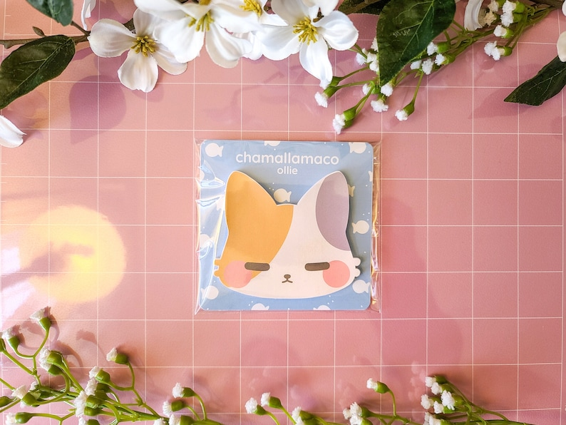 Kawaii Stationery Cute Kitty Bullet Journal Sticky Notes Calico Cat 30 Sheets Cute Stationery Lil Chonk