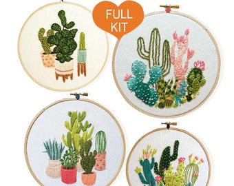 Embroidery Kit Beginner, embroidery kit cacti, cactus embroidery kit, diy Kit Embroidery, diy Kit adult