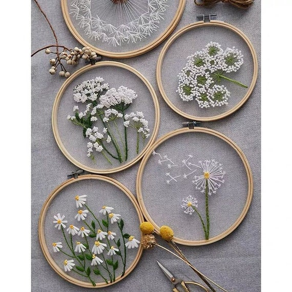 easy diy kit embroidery tutorial new mother/'s day gift narcissus beginner december birth flower embroidery kit easy embroidery kit