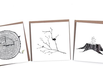 3 Lente-kaarten Natuur op gerecycled papier - Renée's Pics & Paintings