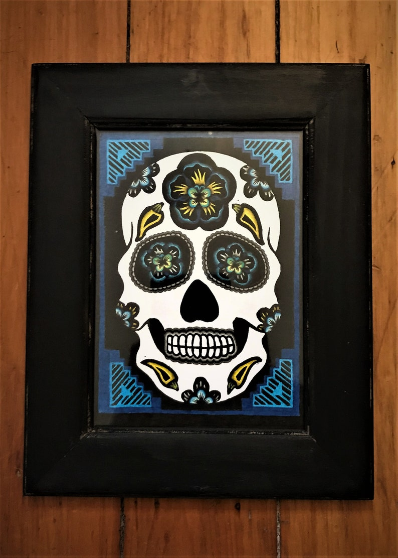 relief print folkart linocut Mexican halloween SUGAR SKULL PRINT  Albuquerque September  Black /& Blue  chile day of the dead