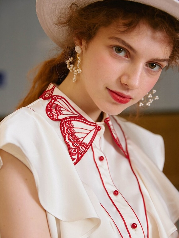 Fairy Embroidered Butterfly Blouse | Ruffled Vint… - image 3