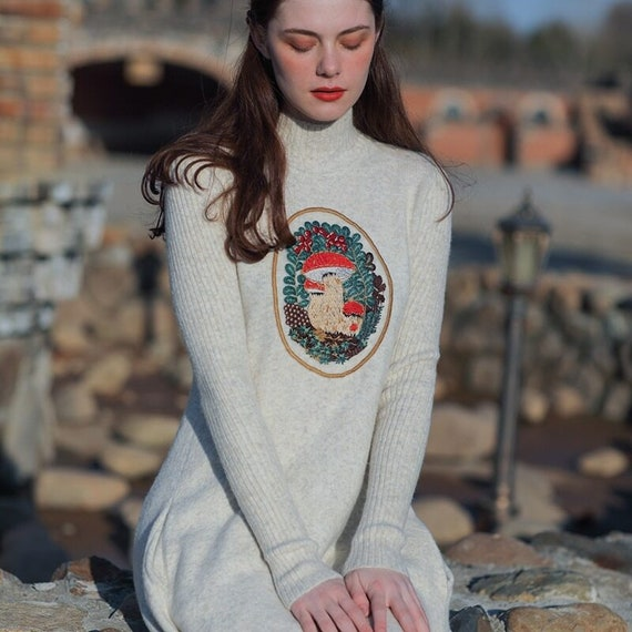 Fairy Romantic Vintage Wool Dress | French Vintage