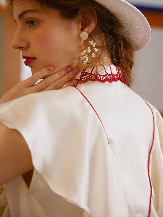 Fairy Embroidered Butterfly Blouse | Ruffled Vint… - image 4
