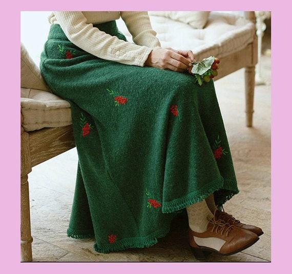 Embroidery Vintage Skirt   Green Woolen Skirt   Au