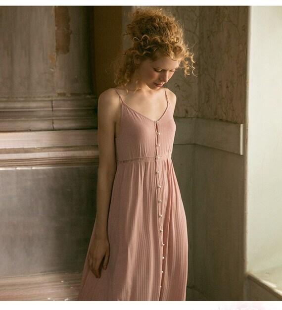 Princess Long Cotton Dress   Loose Night Dress   G