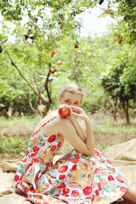 French Colorful Vintage Dress | 50s Dress | Fruit