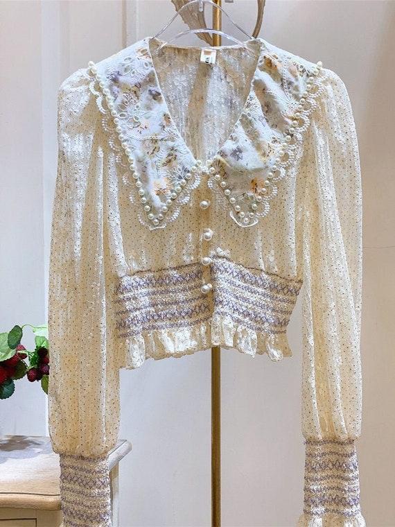 French Vintage Lace Blouse | Peter Pan collar blou