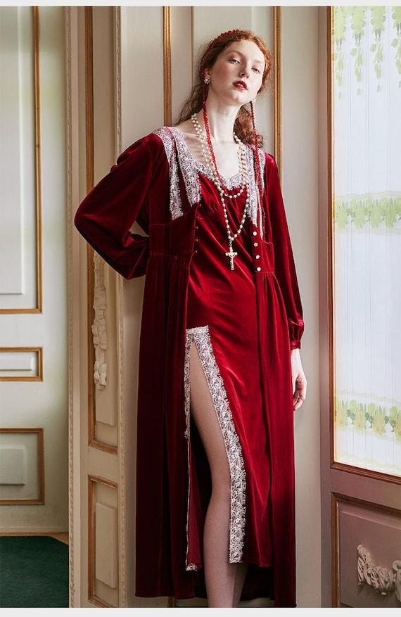 Romantic Vintage Velvet Victorian Red Robe | Robe