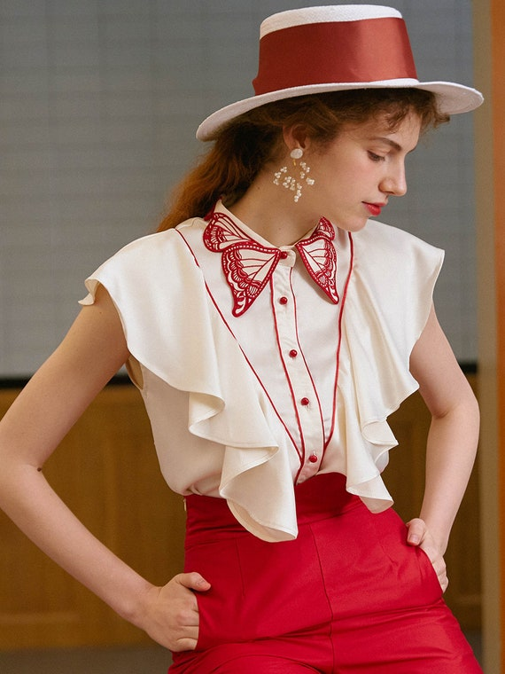 Fairy Embroidered Butterfly Blouse | Ruffled Vint… - image 7