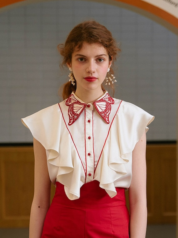 Fairy Embroidered Butterfly Blouse | Ruffled Vint… - image 2
