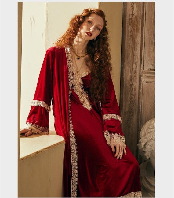 Romantic Vintage Velvet Sexy Red Robe   Robe Set  