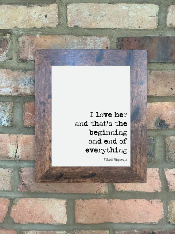 F Scott Fitzgerald Quote Print Letters Home Decor Wall Art Etsy