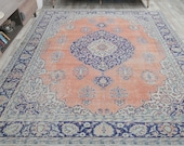 8x10 HERIZ PERSIAN Vintage Carpet, Oushak Handmade Wool Rug, Orange Blue Medallion Area Rugs, Farmhouse Decor, One-of-a-Kind, Boho Decor