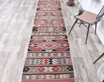 YK156 2.3x12.9 ft Vintage Antique Runner Rug Oriental Oushak Kilim Turkish Runner Rug Bohemian Handmade Kilim Hallway Rug