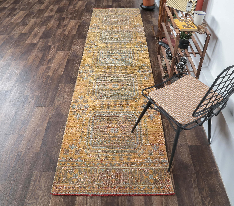 Turkish Rug Oushak Carpet Wool Hallway Rug 8605 Runner Rug Handmade Kitchen Rugs 32x156 Inches Red Carpet Vintage Rug