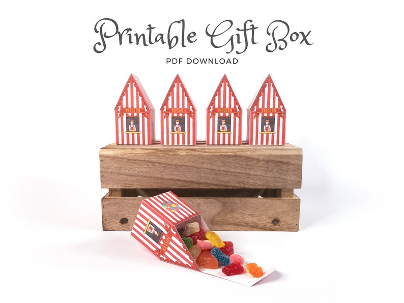 Printable Popcorn Shop Box  A lovely gift box for any image 0