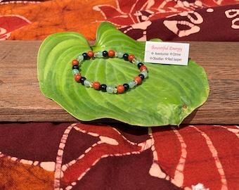 Bountiful energy- Beaded bracelet- Aventurine, Citrine, Obsidian, Red Jasper.