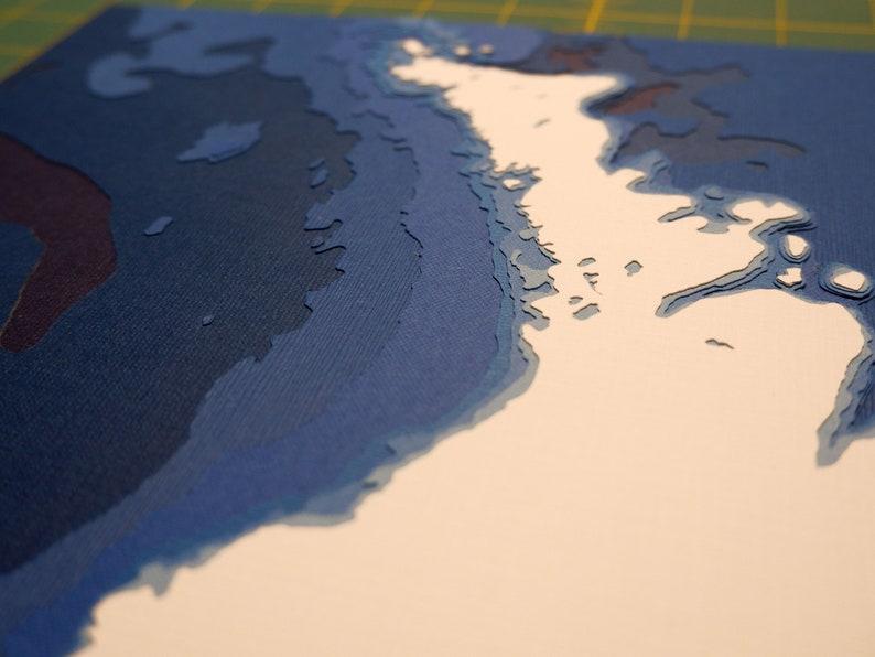 12x18 Lake Huron 12x18 Ontario Ontario Papercut Bathymetric Map