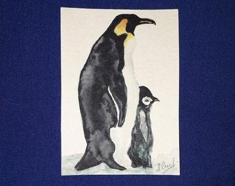 ACEO ATC Print Penguins Penguin Animals Nature Signed