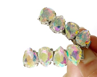 AB Iridescent Jeweled Mini Hair Clips - Set of Two Hair Clips - Pear Rhinestone Hair Accessories - Gifts Under 20