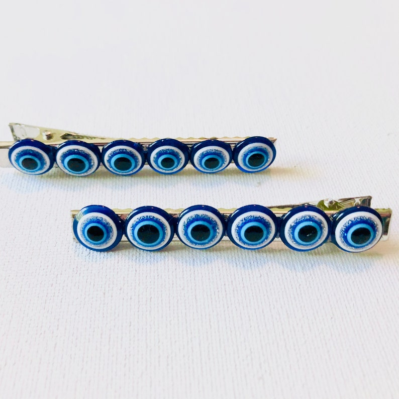 Barrettes Set of Two Hair Clips Ojos Large Hair Clips - Evil Eye Hair Accessories