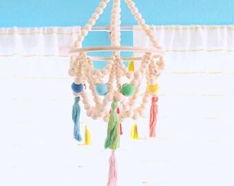 Rainbow Wood Bead Chandelier - Felt Pom Poms & Tassel Chandelier - Boho Home Decor - Baby Mobile Bebe - Boho Baby Shower - Boho Kleid