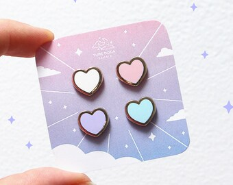 Pastel Hearts Set of 4 Mini Enamel Pins | Accessories, Pin Flair | Yume Moon Studio