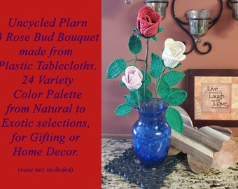 Uncycled Plarn 3 Rose Bud Bouquet, Gift, Decoration