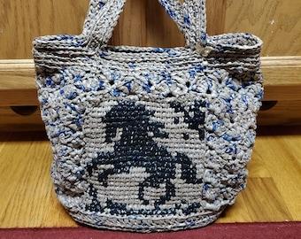 Skipper Custom Plarn Crochet Purse, Handbag, Upcycled, Ecofriendly