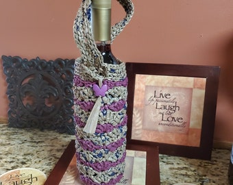 Dual-Color Custom Swallowtail Gift / Wine Bag Crochet Plarn Upcycled handbag Ecofriendly