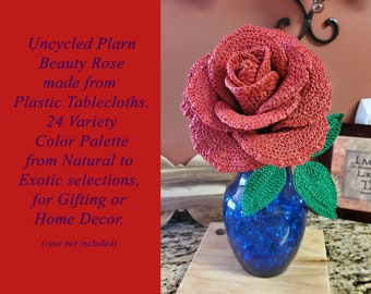 Uncycled Plarn Solitary Beauty Rose, Gift, Decoration